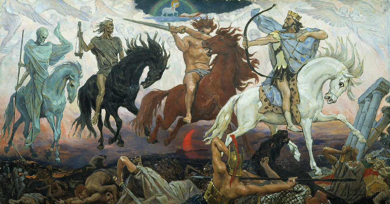 Four Horsemen of the Apocalypse - Death, Famine, War & Conquest, an 1887 painting by Viktor Vasnetsov.